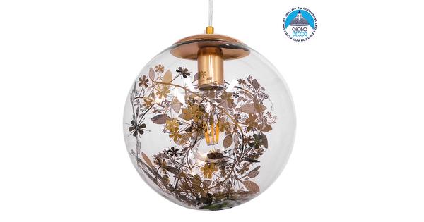 Μοντέρνο Κρεμαστό Φωτιστικό Οροφής Μονόφωτο Γυάλινο Διάφανο με Χρυσή Γιρλάντα Φ25cm  HARPER GOLD 01511
