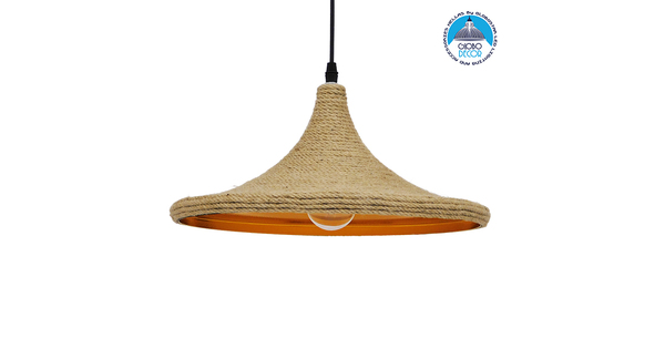 Vintage Κρεμαστό Φωτιστικό Οροφής Μονόφωτο με Μπεζ Σχοινί Καμπάνα GloboStar BEIJING Φ37 00917