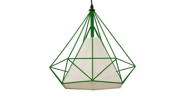 Μοντέρνο Industrial Κρεμαστό Φωτιστικό Οροφής Μονόφωτο Πράσινο με Άσπρο Ύφασμα Μεταλλικό Πλέγμα Φ38  KAIRI GREEN 01622