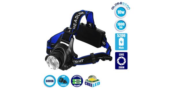 Πανίσχυρος Φακός Κεφαλής LED Επαναφορτιζόμενος 1800 Lumen 5200Mah  05996