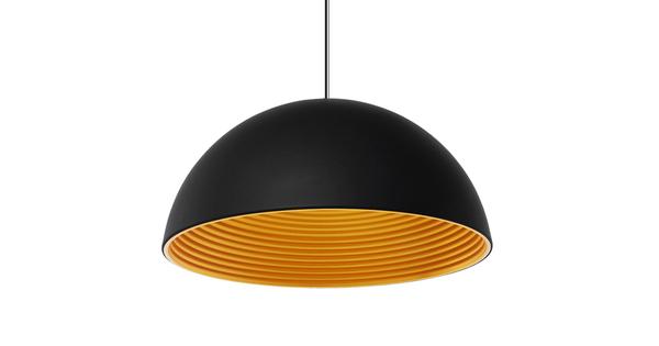 Μοντέρνο Κρεμαστό Φωτιστικό Οροφής Μονόφωτο Μαύρο Χρυσό Μεταλλικό Καμπάνα Φ60  MEDEA 01344