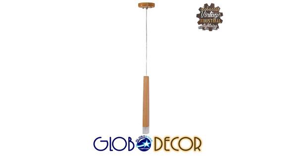 Μοντέρνο Κρεμαστό Φωτιστικό Οροφής Μονόφωτο LED Μπεζ Ξύλινο  WOODFALLS 01252