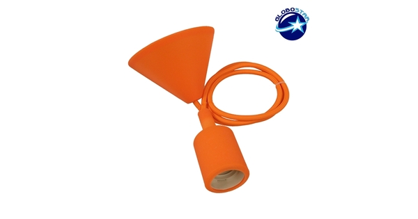 Πορτοκαλί Κρεμαστό Φωτιστικό Οροφής Σιλικόνης με Υφασμάτινο Καλώδιο 1 Μέτρο E27  Orange 91005