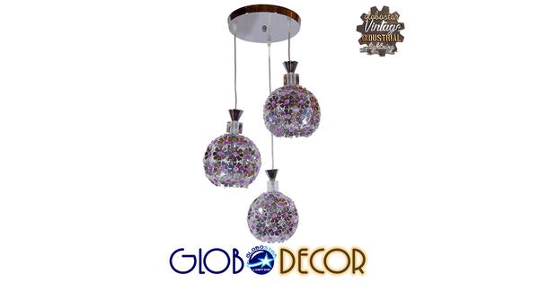 Μοντέρνο Κρεμαστό Φωτιστικό Οροφής Τρίφωτο Ασημί Μεταλλικό με Κρύσταλλα Φ50  BOUQUET 01248