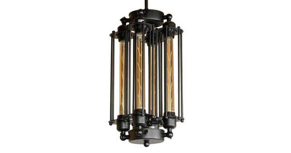 Vintage Industrial Κρεμαστό Φωτιστικό Οροφής Πολύφωτο Μαύρο Μεταλλικό Πλέγμα με Γυαλί Φ27 GloboStar TUBING 01013