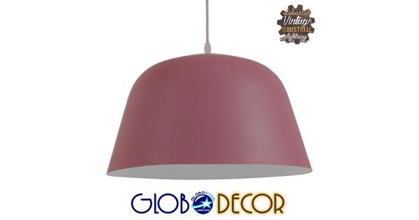 Μοντέρνο Κρεμαστό Φωτιστικό Οροφής Μονόφωτο Ροζ Μεταλλικό Καμπάνα Φ40  SOUTHVALE 01284