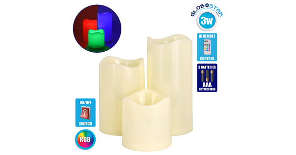 79553 ΣΕΤ 3 Διακοσμητικών Realistic Κεριών με LED Εφέ Κινούμενης Φλόγας - Μπαταρίας & Ασύρματο Χειριστήριο IR Πολύχρωμα RGB Dimmable