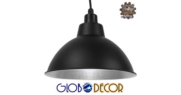 Vintage Industrial Κρεμαστό Φωτιστικό Οροφής Μονόφωτο Μαύρο Μεταλλικό Καμπάνα Φ39   LOUVE BLACK 01176