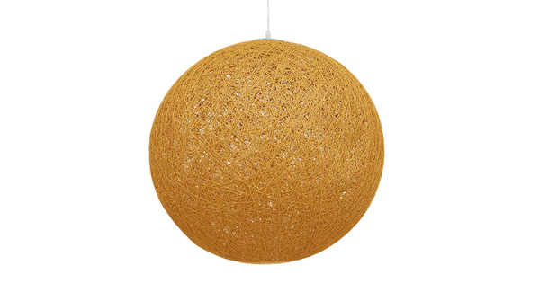 Vintage Κρεμαστό Φωτιστικό Οροφής Μονόφωτο Μπεζ Χρυσό Ξύλινο Ψάθινο Rattan Φ60 GloboStar LOFT 01361