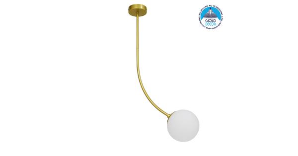 Μοντέρνο Φωτιστικό Οροφής Μονόφωτο Χρυσό 70cm με Λευκό Ματ Γυαλί Φ15  DRIZZLE 70cm 00922
