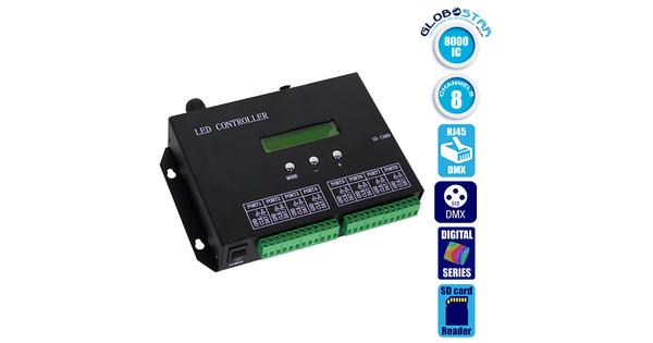 LED Digital Controller T8000PRO H803SA 8000 IC DMX512 SD CARD Professional Series GloboStar 88771