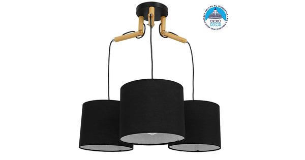Μοντέρνο Κρεμαστό Φωτιστικό Οροφής Τρίφωτο Μαύρο με Ξύλο και Υφασμάτινα Καπελα Φ67  RAMSON BLACK 01525