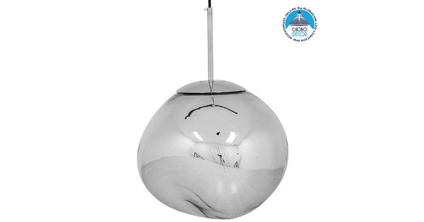 Μοντέρνο Κρεμαστό Φωτιστικό Οροφής Μονόφωτο Γυάλινο Ασημί Νίκελ Φ36  DIXXON CHROME 01464
