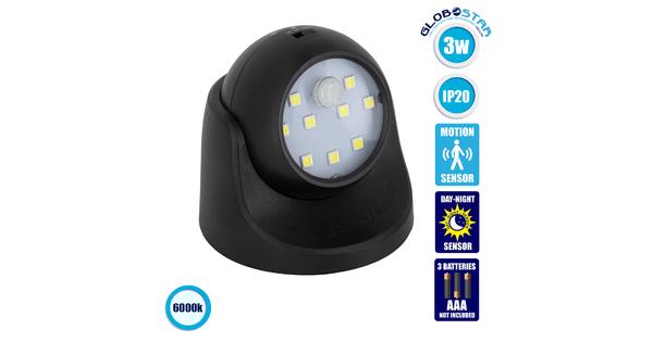 79001 Μαύρο Φωτιστικό Μπαταρίας σε Σχήμα Κάμερας LED SMD 3W 300lm με Αισθητήρα Ημέρας-Νύχτας και PIR Αισθητήρα Κίνησης Ψυχρό Λευκό 6000K