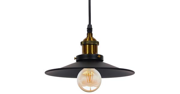 Vintage Industrial Κρεμαστό Φωτιστικό Οροφής Μονόφωτο Μαύρο Μεταλλικό Καμπάνα Φ22 GloboStar CARAVEL 01167