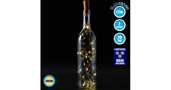 79790 Διακοσμητική Γιρλάντα 20 LED με Ασημένιο Συρμάτινο Καλώδιο 2 Μέτρων Μπαταρίας για Μπουκάλια Θερμό Λευκό 3000k