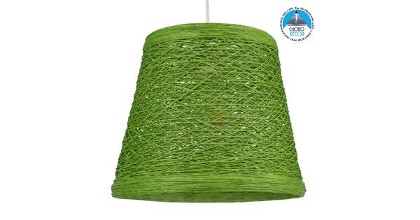 PLAYROOM 00864 Vintage Κρεμαστό Φωτιστικό Οροφής Μονόφωτο Πράσινο Ξύλινο Ψάθινο Rattan Φ32 x Υ27cm