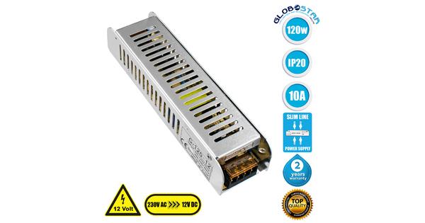 73002 Τροφοδοτικό LED Ultra Slim 120W DC 12V 10A IP20 Μ18.7 x Π4.7 x Υ3.5cm