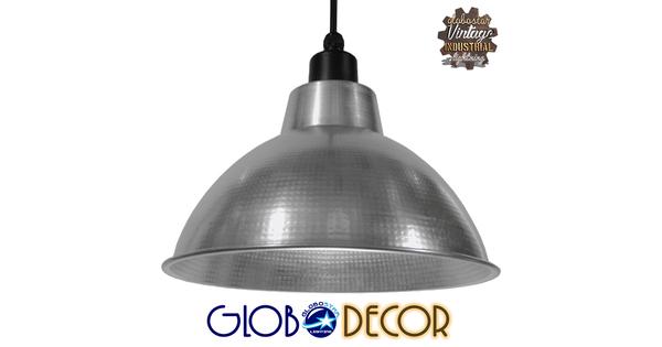 Vintage Industrial Κρεμαστό Φωτιστικό Οροφής Μονόφωτο Ασημί Μεταλλικό Καμπάνα Φ39  LOUVE SILVER 01178