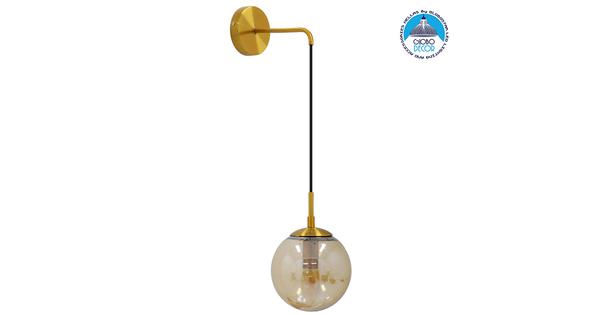 Μοντέρνο Φωτιστικό Τοίχου Απλίκα Μονόφωτο Χρυσό με Μελί Γυαλί Φ15  MADISON 01427