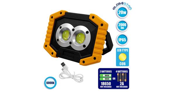 Φορητός Προβολέας Εργασίας 20W LED IP65 Επαναφορτιζόμενος 4 Modes & Power Bank και Καλώδιο Micro USB  88948