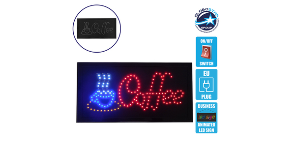 Φωτιστικό LED Σήμανσης COFFEE με Διακόπτη ON/OFF και Πρίζα 230v 48x2x25cm GloboStar 96307