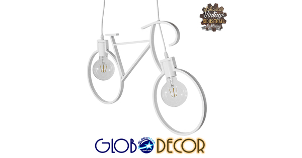 Vintage Κρεμαστό Φωτιστικό Οροφής Δίφωτο Λευκό Μεταλλικό  BIKE 01300