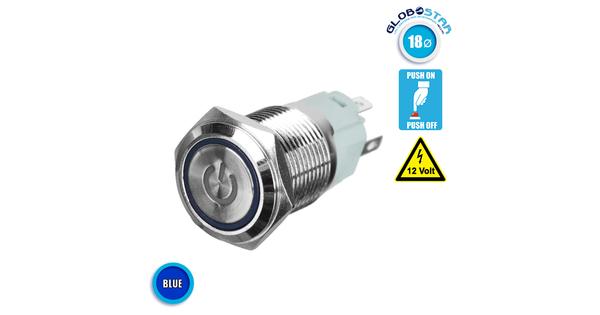Διακοπτάκι LED PUSH ON 12 Volt 4 Ampere Μπλε GloboStar 05074