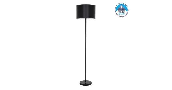 GloboStar® ASHLEY 00822 Μοντέρνο Φωτιστικό Δαπέδου Μονόφωτο Μεταλλικό Μαύρο με Καπέλο Φ35 x Υ145cm