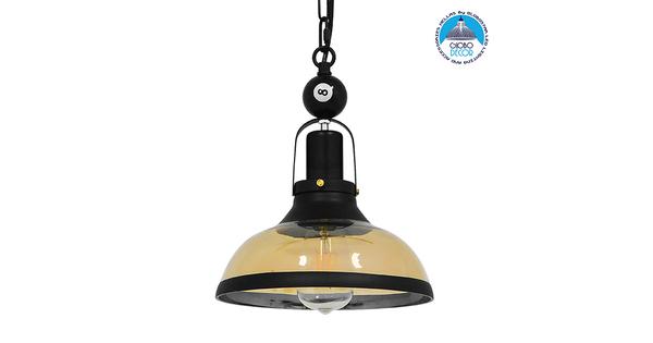 Vintage Industrial Κρεμαστό Φωτιστικό Οροφής Μονόφωτο Mαύρο Μεταλλικό Καμπάνα Φ25  BILLIARD SERIES 00971
