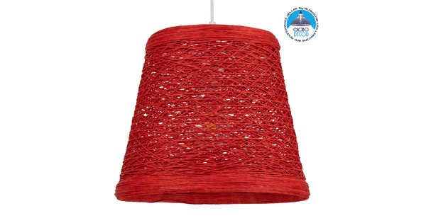 GloboStar® PLAYROOM 00863 Vintage Κρεμαστό Φωτιστικό Οροφής Μονόφωτο Κόκκινο Ξύλινο Ψάθινο Rattan Φ32 x Υ27cm