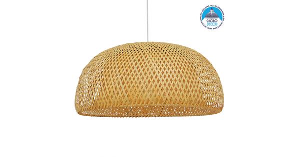 Vintage Κρεμαστό Φωτιστικό Οροφής Μονόφωτο Καφέ Ξύλινο Bamboo Φ60 GloboStar BERMUDA 01627