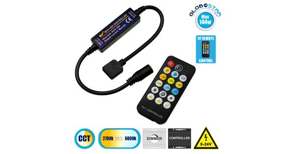 73356 Ασύρματο LED CCT Controller με Χειριστήριο RF 2.4Ghz DC 5-24V Max 144W