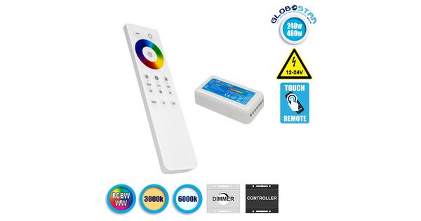 Ασύρματος LED RGBW-WW Controller με Χειριστήριο Αφής 2.4G 12v (240w) - 24v (480w)  73424