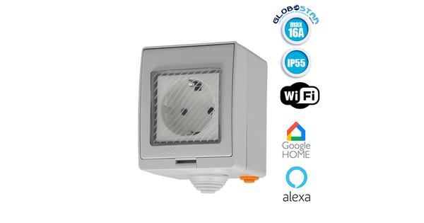 SONOFF S55 Wi-Fi Smart Waterproof Socket - Έξυπνη Εξωτερική Αδιάβροχη Πρίζα SONOFF IP55 WiFi GloboStar 48475