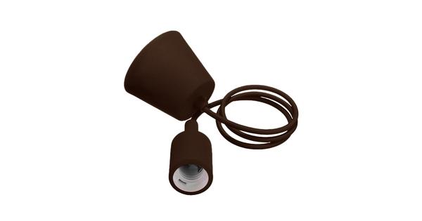 Καφέ Κρεμαστό Φωτιστικό Οροφής Σιλικόνης με Υφασμάτινο Καλώδιο 1 Μέτρο E27  Brown 91012