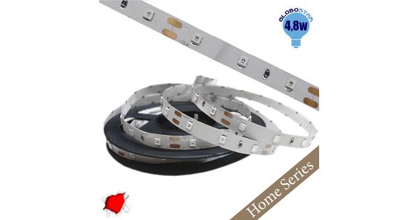 Ταινία LED Λευκή Home Series 5m 4.8W/m 12V 60LED/m 2835 SMD 200lm/m 120° IP20 Κόκκινο GloboStar 33403
