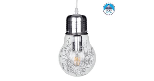 LAMP 01676 Μοντέρνο Κρεμαστό Φωτιστικό Οροφής Μονόφωτο Ασημί Νίκελ Μεταλλικό Διάφανο Γυαλί Φ15 x Υ27cm