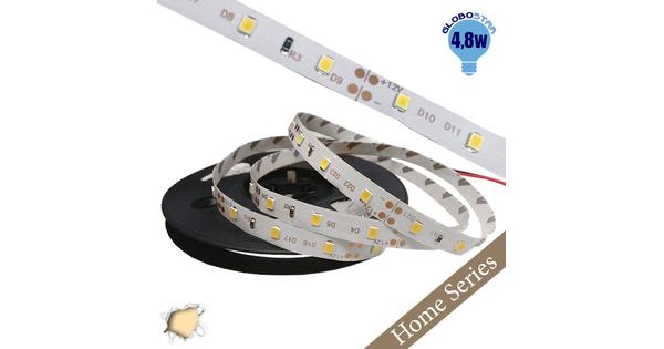 Ταινία LED Λευκή Home Series 5m 4.8W/m 12V 60LED/m 2835 SMD 280lm/m 120° IP20 Θερμό Λευκό 3000k GloboStar 33402