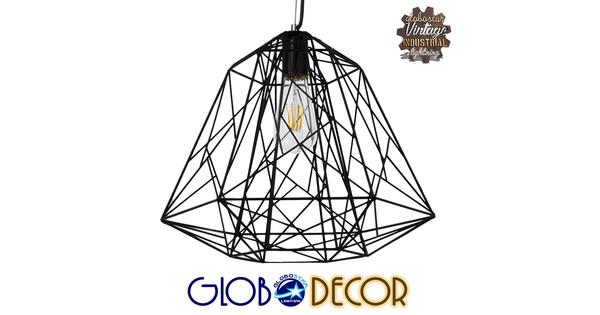 Vintage Industrial Kρεμαστό Φωτιστικό Οροφής Μονόφωτο Μαύρο Μεταλλικό Πλέγμα Φ32  GRID 01022