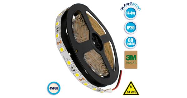 Ταινία LED 5050 SMD 5m 14.4W/m 60LED/m 1340 lm/m 120° DC 12V IP20 Φυσικό Λευκό 4500k GloboStar 70021