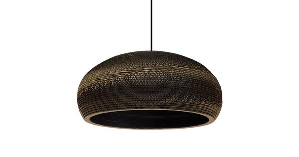 Vintage Κρεμαστό Φωτιστικό Οροφής Μονόφωτο 3D από Επεξεργασμένο Σκληρό Καφέ Χαρτόνι Καμπάνα Φ56 GloboStar NAXOS 01298