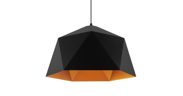 Μοντέρνο Κρεμαστό Φωτιστικό Οροφής Μονόφωτο Μαύρο Χρυσό Μεταλλικό Καμπάνα Φ46  SYLRA 01195