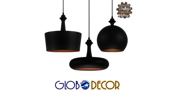 SET 3 Μοντέρνα Κρεμαστά Φωτιστικά Οροφής Μονόφωτα Μαύρα Μεταλλικά Καμπάνα  ROCKFORD 01287