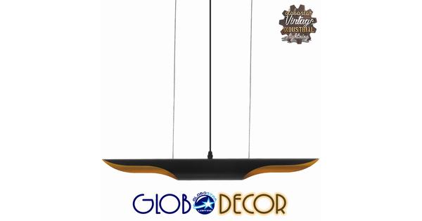 Μοντέρνο Κρεμαστό Φωτιστικό Οροφής Δίφωτο Μαύρο - Χρυσό Μεταλλικό  ESTERINA 01304