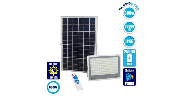 71562 Αυτόνομος Ηλιακός Προβολέας LED SMD 300W 36000lm με Ενσωματωμένη Μπαταρία 25500mAh - Φωτοβολταϊκό Πάνελ με Αισθητήρα Ημέρας-Νύχτας και Ασύρματο Χειριστήριο RF 2.4Ghz Αδιάβροχος IP66 Ψυχρό Λευκό 6000K