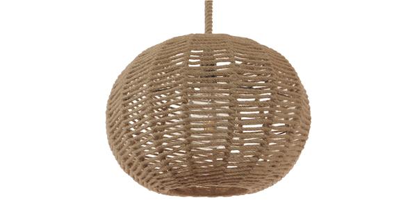 Vintage Κρεμαστό Φωτιστικό Οροφής Μονόφωτο Πλέγμα με Μπεζ Σχοινί Φ42 GloboStar CAPRI 01331