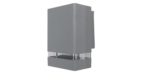 Φωτιστικό Τοίχου Quatro Ασημί Αλουμινίου IP65 Down Gu10  90065