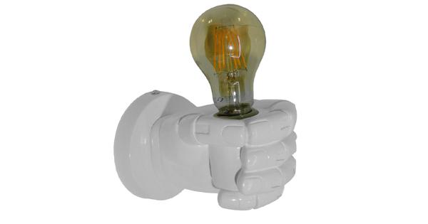 Μοντέρνο Φωτιστικό Τοίχου Απλίκα Μονόφωτο Λευκό Γύψινο  FIST WHITE 01137