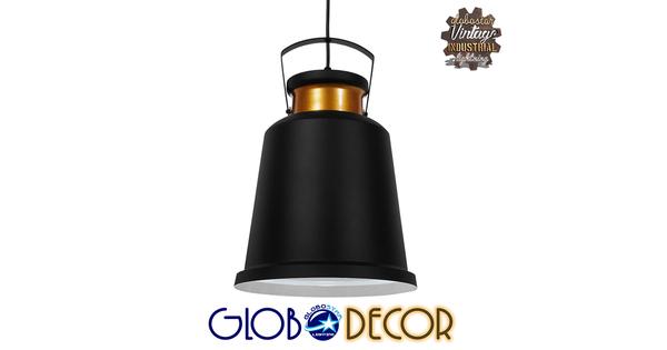 Vintage Industrial Κρεμαστό Φωτιστικό Οροφής Μονόφωτο Μαύρο Μεταλλικό Καμπάνα Φ27  NUNZIATA 01236